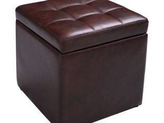 16 Cube Ottoman Storage Box PU Seat Footstools with Hinge Top
