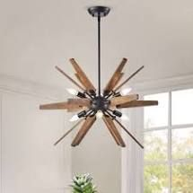 Bernice Antique Black Sputnik Natural Wood 6light Chandelier  Retail 178 99