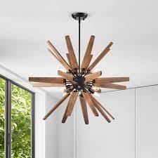 Bernice 8 light Antique Black Sputnik Natural Wood Chandelier  Retail 194 49