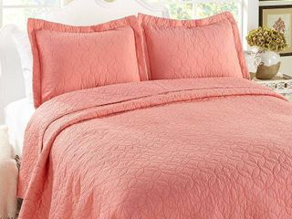 laura Ashley Coral Cotton 3 piece Quilt Set