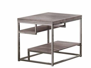 Coaster Home Furnishings 2 Shelf End Table Weathered Grey and Black Nickel