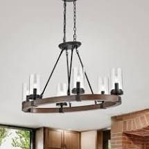 Daniela Oval Pine Wood Glass Shade Chandelier in Antique Black Metal  Retail 188 49