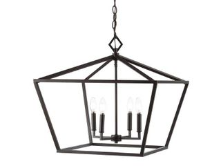 JONATHAN Y Gatsby 23 in  4 light Oil Rubbed Bronze Adjustable Iron Rustic Glam lED Pendant