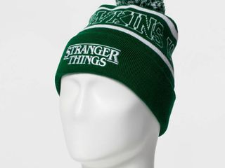 Men s Stranger Things Funko Hawking Beanie   White  Green