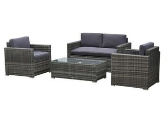 Outsunny 4 Piece Cushioned Patio Furniture Set  with 2 Chairs  Sectional  and Glass Coffee Table  Rattan Wicker  Grey  Retail 595 99