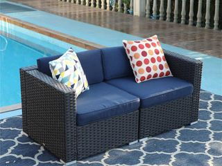 PHI VIllA Patio Furniture Sofa Outdoor loveseat 2 Piece Patio Couch with Washable Cushions Blue