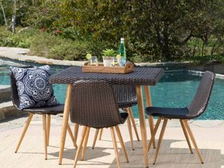 Table Only Gila Outdoor Square Wicker Dining Table with Umbrella Hole by Christopher Knight Home  Retail 433 49