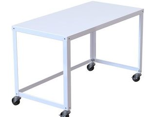 Porch   Den Rockridge Industrial Modern White 48 inch Mobile Desk Rolling Cart  Retail 145 99