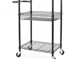 Seville Classics 3 Tier Steel Wire Multipurpose Basket Shelf Adjustable Storage Utility Cart  Black  Retail 79 98
