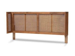 Queen Rina Wood Wrap Around Headboard Ash Walnut   Baxton Studio