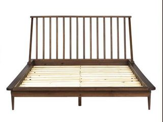 Walker Edison Furniture BQSPINWT Modern Wood Queen Spindle Bed 44  Walnut