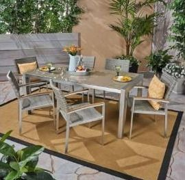 Table only Christopher Knight Home Silver Outdoor Dining Table