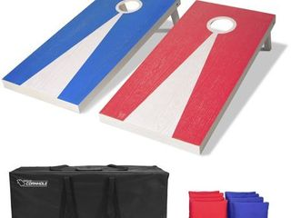 GoSports light Regulation Size Solid Wood Cornhole Set   Includes Two 4  x 2  Boards  8 Bean Bags  Carrying Case and Game Rules