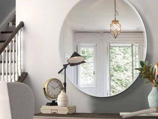 Modern Aluminum Alloy Thin Frame Wall Mounted Vanity Round Mirror  Retail 84 99