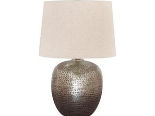 Signature Design by Ashley Magalie Antique Silver Finish 23  Metal Table lamp