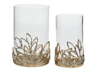 Pascal Candle Holder   Set of 2   Candle holder small  6  W x 6  D x 10  H