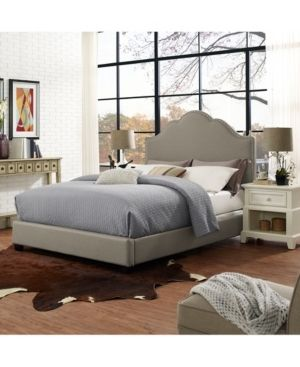 Preston Camelback Upholstered Queen Bedset In Shadow Gray linen  Retail 277 99