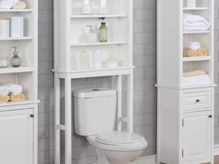 Porch   Den Everest Over the Toilet Space Saver Storage with Upper Cabinet and Open Shelf  Retail 227 99