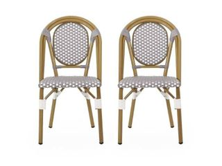 Elize Outdoor French Bistro Chair  Set of 2  by Christopher Knight Home  Retail 216 49