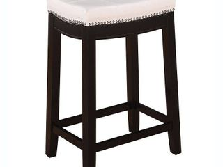 24  Padded Saddle Counter Stool White   linon
