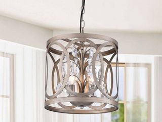 Aurelia 3 light Brushed Champagne Metal Cage Drum Chandelier  Retail 98 99