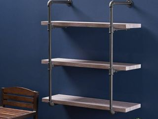 Staci Industrial 3 Shelf Faux Wood Floating Shelf by Christopher Knight Home   31 25  W x 12 00  D x 34 75  H  Retail 129 49