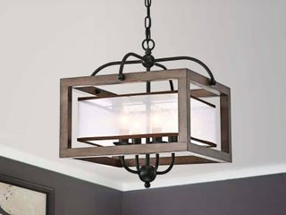 Alina Antique Black Metal Natural Wood Chandelier with Fabric Shade  Retail 146 49