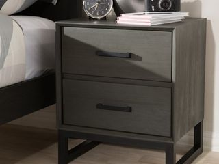Rustic Grey Wood and Black Metal 2 Drawer Nightstand by Baxton Studio  Retail 223 49