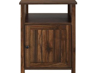 18  Grooved Door Side Table   Dark Walnut