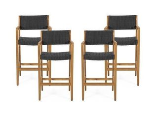 Genesee Outdoor Acacia Wood Barstools with Wicker  Set of 2  by Christopher Knight Home  Retail 207 49