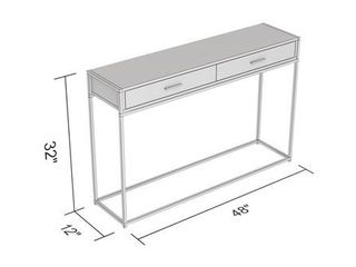 Console Table 48l Dark Grey Wood 2 Drawers Black Metal   48  x 12  x 32  Retail 131 99