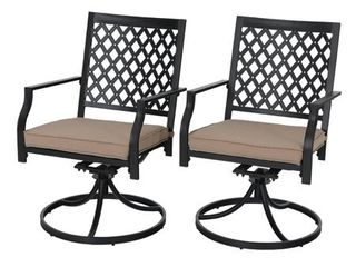 PHI VIllA Outdoor Patio Swivel Chair for Garden Backyard Furniture 2 Pcs Sets  Retail 266 99