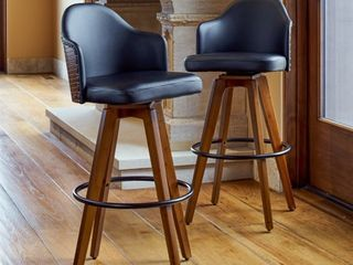 Corvus Metz Mid century Bonded leather Swivel Bar Stools  Set of 2  Retail 256 49