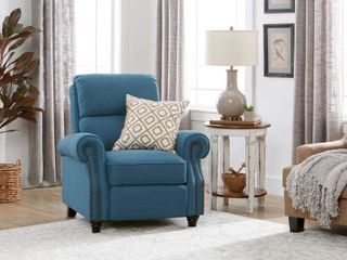 Copper Grove Jessie Prolounger Caribbean Blue linen Push Back Recliner Chair  Retail 413 99