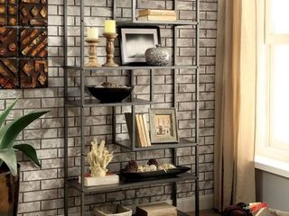 Furniture of America Zaur Industrial Grey Metal Tiered Bookshelf  Retail 227 49