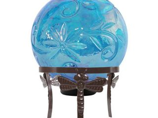 Alpine Blue Glass Globe Decor w  lED light  13 Inch Tall  Retail 83 58
