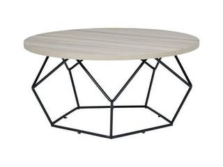 Waylowe Contemporary light Brown Black Round Cocktail Table   36 W x 36 D x 18 H  Retail 214 99