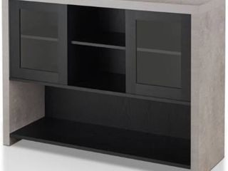 Furniture of America Tillion Storage Buffet Table in Black and Cement
