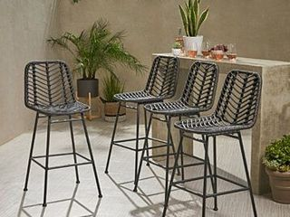 Dale Wicker Bar Stool with Cushion  Set of 2  by Christopher Knight Home