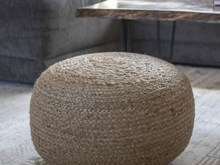 The Curated Nomad Molino Round Woven Pouf