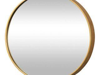 FirsTime   Co  Gold Beckham Round Mirror  American Crafted  Gold  Mirror  22 x 1 75 x 22 in   22 x 1 75 x 22 in