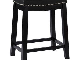 Claridge leather Saddle 26  Counter Stool Black   linon