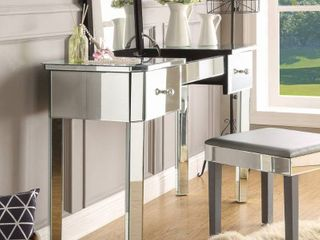 Inspired Home Addison Mirrored Makeup Vanity Table with 2 Drawers