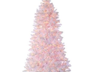 Direct Export 7 5  Shiny White Pine Prelit Artificial Christmas Tree  Retail 266 99