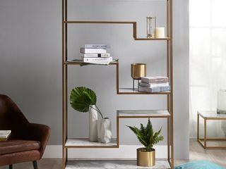 72  Marmo large 5 Tier Display Shelf Faux Marble Brass   Versanora