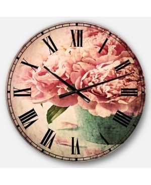 Designart  Pink Peony Flowers in Vase  Floral Wall Clock  Retail 124 99