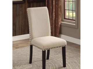 Furniture of America Roisin Contemporary Dining Chair  Set of 2  Ivory
