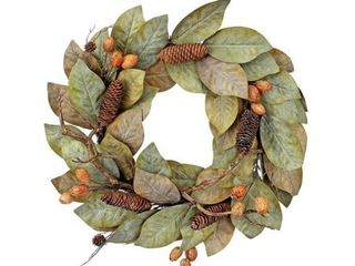 24  Dried Magnolia leaf W Nuts Cones Wreath