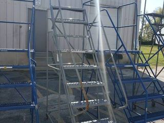 9 Step Rolling warehouse ladder