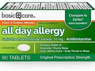 Basic Care All Day Allergy Indoor   Outdoor Allergies   90 Tablets